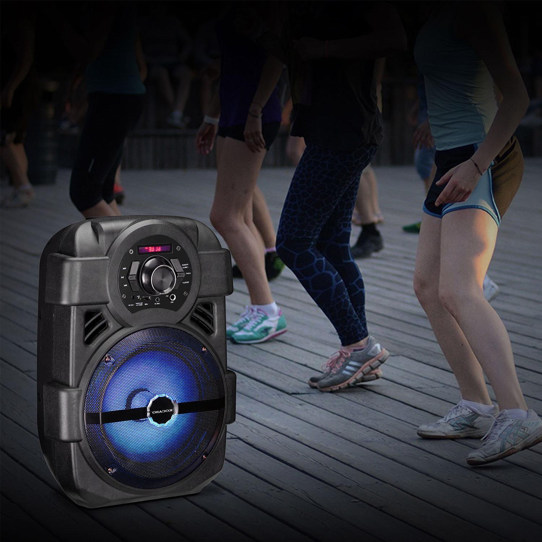 """Portable PA Karaoke Speaker 8"""" Subwoofer Sound System LED MIC"""