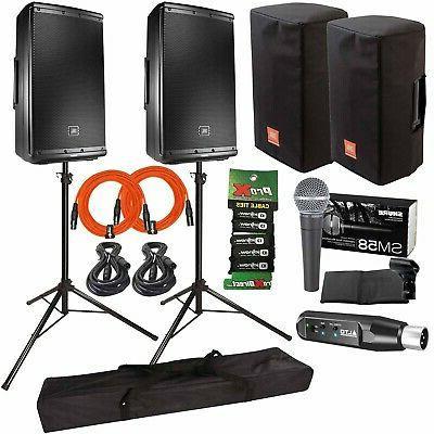 "JBL Professional EON612 12"" Powered PA DJ Speakers + Covers"