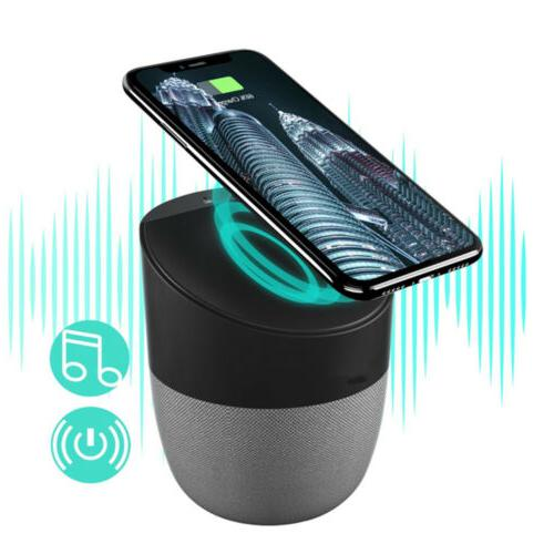qtouch 2in1 bluetooth speaker qi wireless charger
