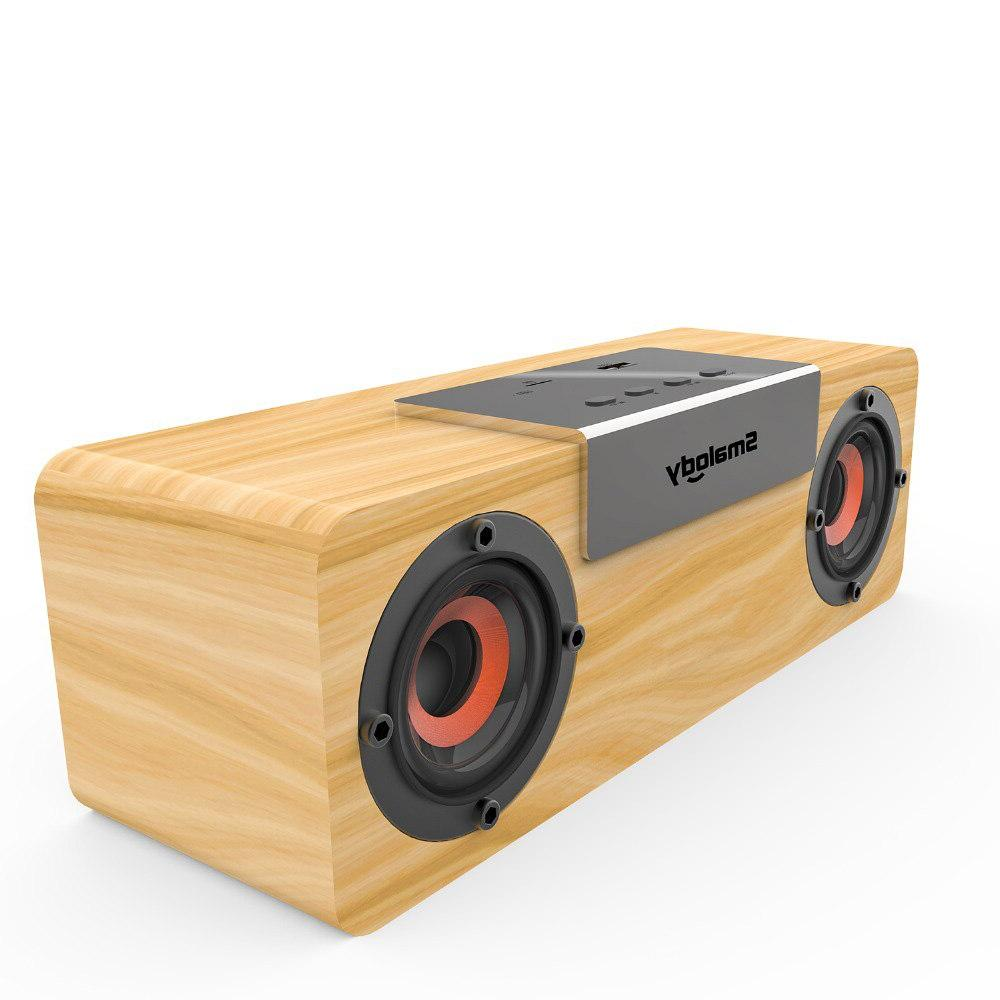 Smalody Wooden TV Soundbar bass computer USB Radio sound box