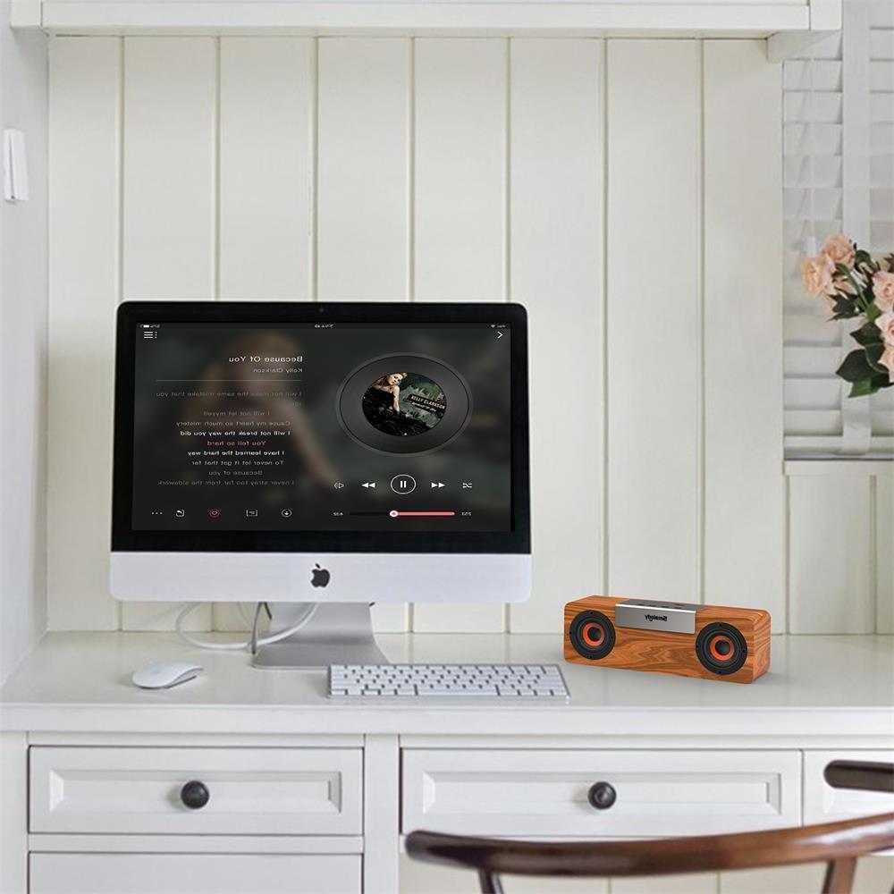 Smalody wireless <font><b>bluetooth</b></font> Wooden TV Stereo bass computer boombox Radio sound