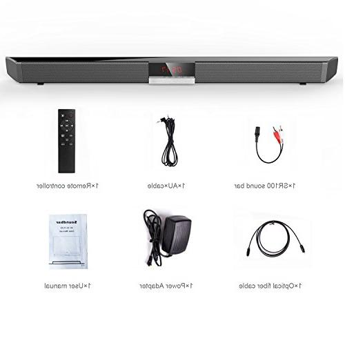 Soundbar Built-in by HYASIA, 34 40-Watts & Wired Bluetooth Bars Home Theater, Sound Bar PC, Cellphone.