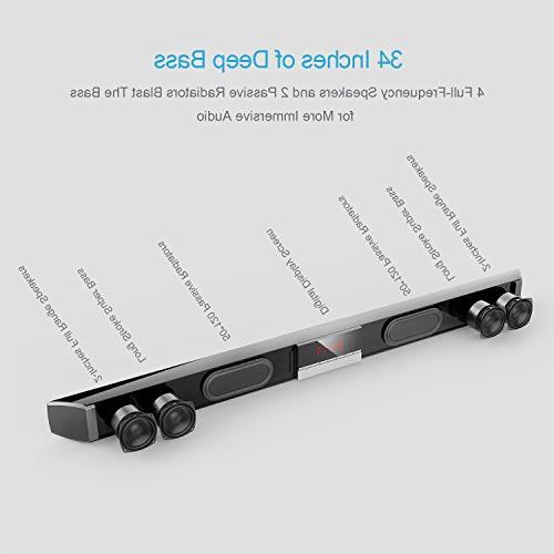 Soundbar with by 34 Inch 40-Watts 4.0 Wireless & Wired Bluetooth Sound Bars PC,