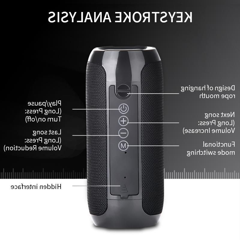 TG117 <font><b>Bluetooth</b></font> Outdoor Waterproof Portable Wireless Column Loudspeaker TF Card FM Aux Input