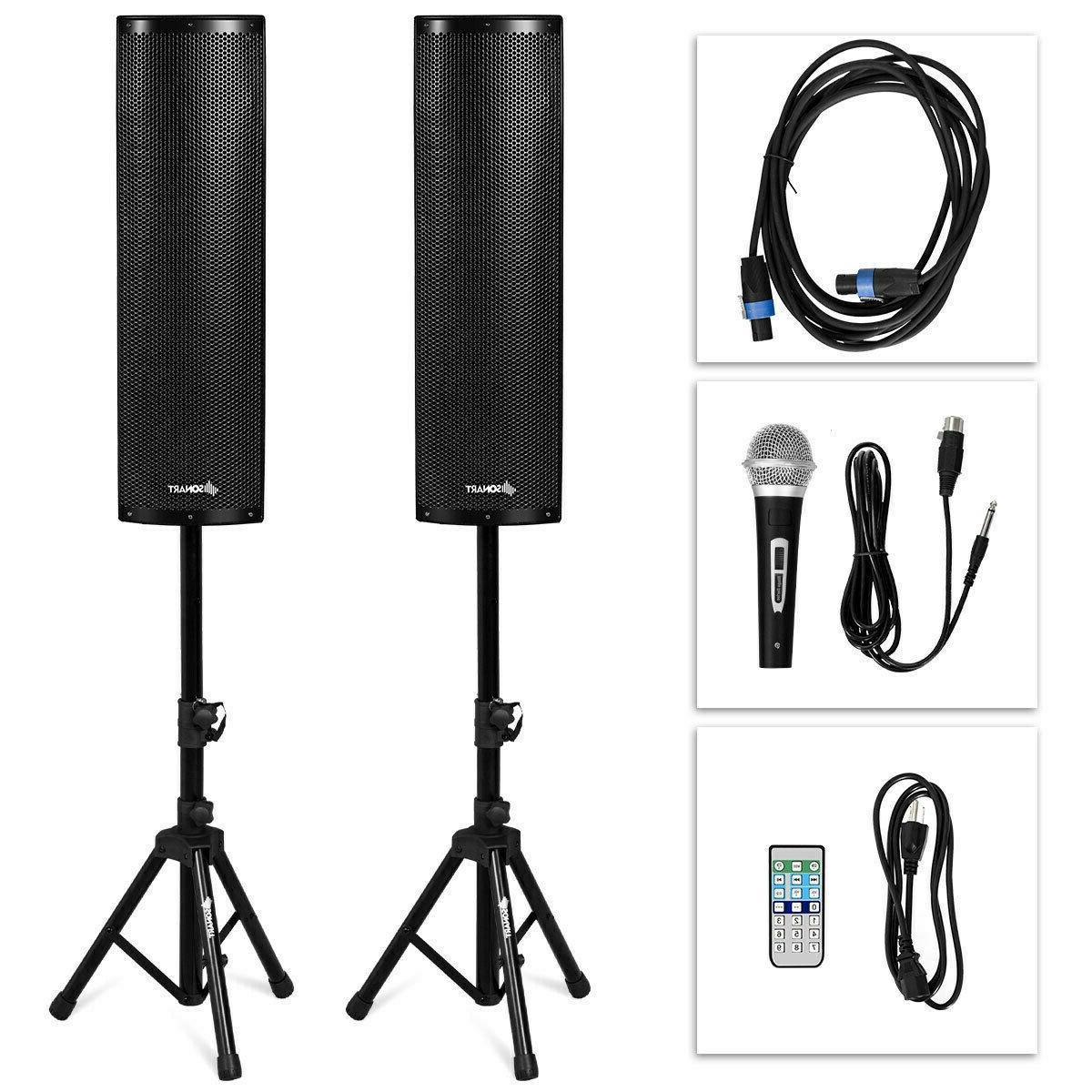 Tower Speakers Pair Amplified Floor Standing 2000W Bluetooth