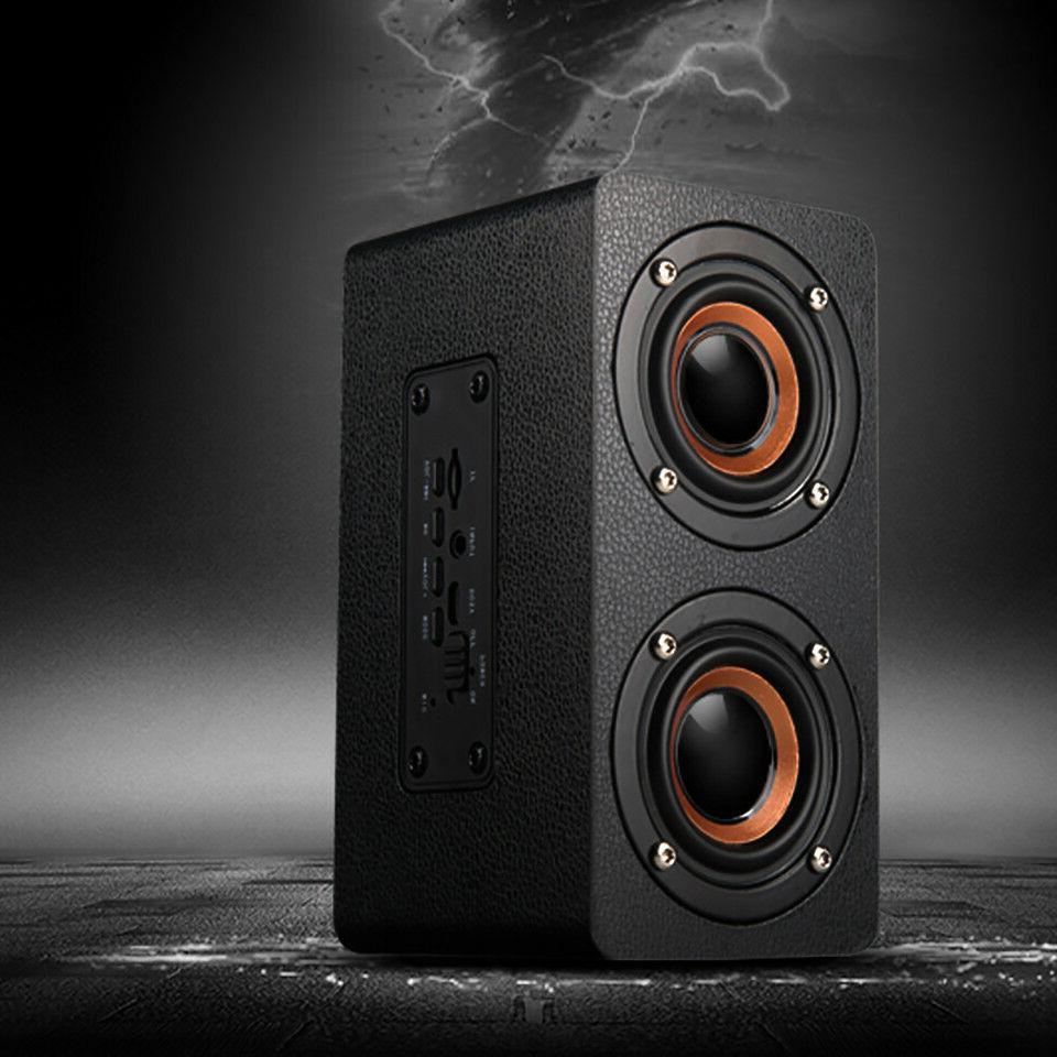 Wooden Wireless Bluetooth Speaker Super Bass Stereo Portable