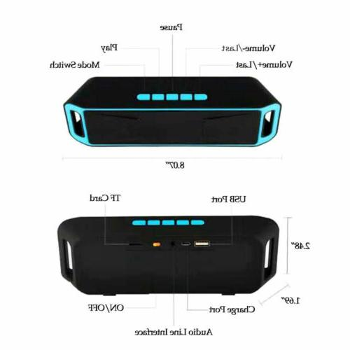 Wireless Bluetooth Rechargeable Double Speakers AUX TF