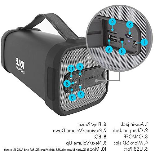 Pyle Portable Bluetooth Speaker with Built-in Battery MP3/USB/Micro SD Reader FM Radio