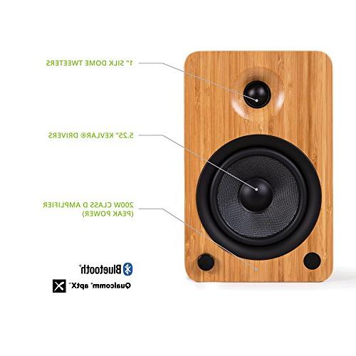 Kanto YU6 with Bluetooth and Preamp, Bamboo