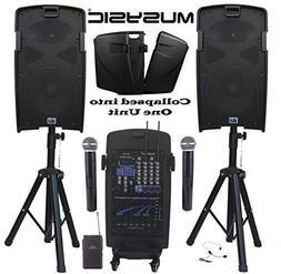 """MUSYSIC M-Port PA2K 2000W Portable PA System 2x10"""" Speakers"""