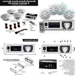 Marine Radio Receiver Speaker Set - 12v Single DIN Style Blu
