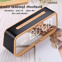 Mirror LED Display bluetooth Audio Speaker Alarm Clock TF AU