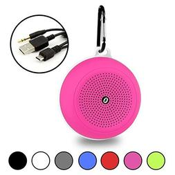 Pink Portable Waterproof Bluetooth Speaker and FM Radio with