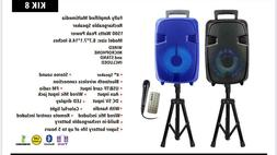 "Portable 1500 Watts Peak Power 8"" Speaker -KIK8 WITH STAND"