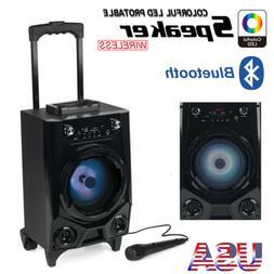 Portable Bluetooth Party DJ Karaoke PA Speaker Rechargeable