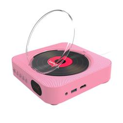 Portable CD/DVD Player Pink with Bluetooth Dual Speakers Wal