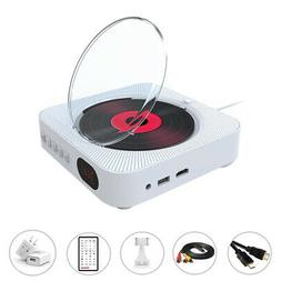 Portable CD/DVD Player White with Bluetooth Dual Speakers Wa