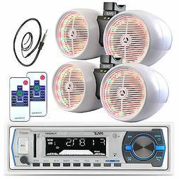 """Pyle 8""""  White Tower Speaker LED Sets, Antenna, Pyle USB Blu"""