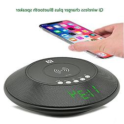 Qi Wireless Charger with Bluetooth Speakers, NFC enabled, FM