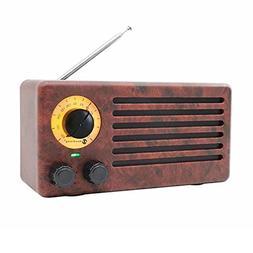 YSEECHENS Retro Desktop FM Radio and Portable Stereo Bluetoo