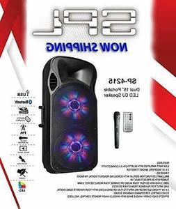 SPL SP-4215 Dual 15 Inch Portable LED DJ Karaoke Speakers Li