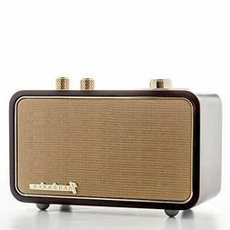Vintage Radio Retro Style Bluetooth Speaker, Natural Walnut