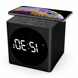 Wireless Charging Alarm Clock Radio for Bedroom, Wireless Ch