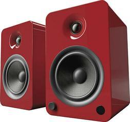 yu6 powered bookshelf speakers gloss red